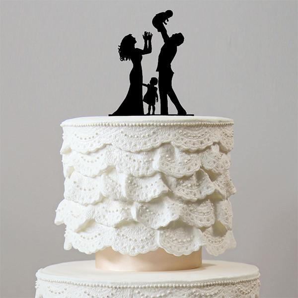 Family Wedding Cake Topper (Bride, Groom, Daughter &Baby) [Little Girls /Children /Kids]