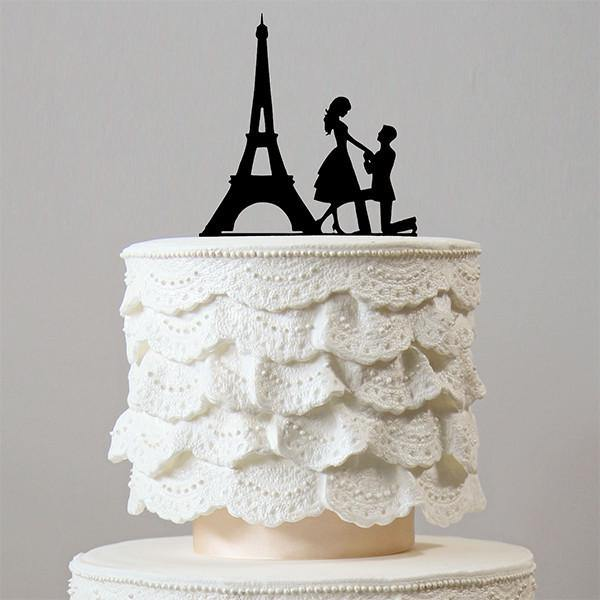 Romantic Proposing Wedding Cake Topper (Engagement /Paris Eiffel Tower /Marriage Proposal) - CHARMERRY