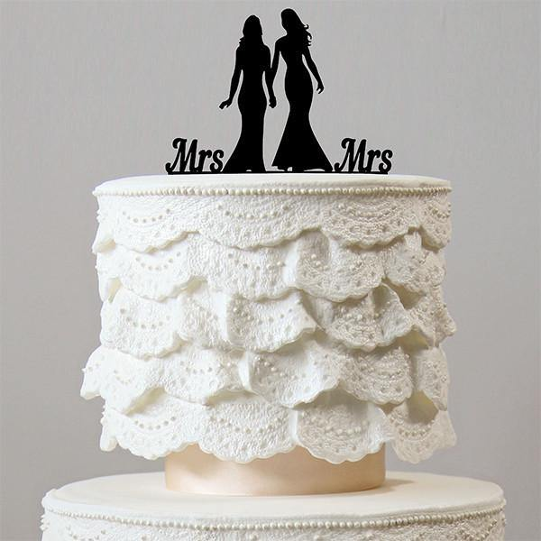 Mrs Mrs Wedding Cake Topper Decoration (Homosexual Love /Same-Sex Marriage) - CHARMERRY