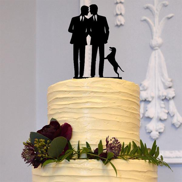 Wedding Cake Topper (Dog Pet /Gay Marriage /Same-Sex Love /Homosexual /Engagement)