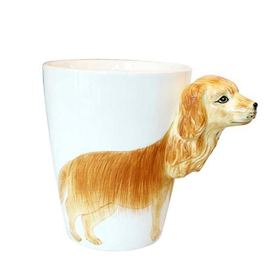 Dog Coffee Mug -Unique Puppy Pet Tea Cup Gift (Golden Retriever /Ceramic)