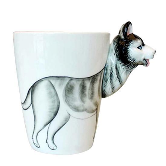 Dog Coffee Mug -Unique Puppy Pet Ceramic Tea Cup Gift (Siberian Husky)