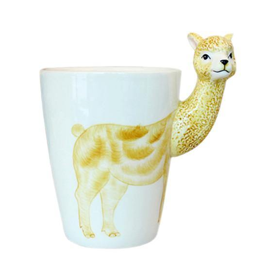 Alpaca Coffee Mug -Unique Animal Ceramic Tea Cup Gift (Lama /Vicugna pacos)