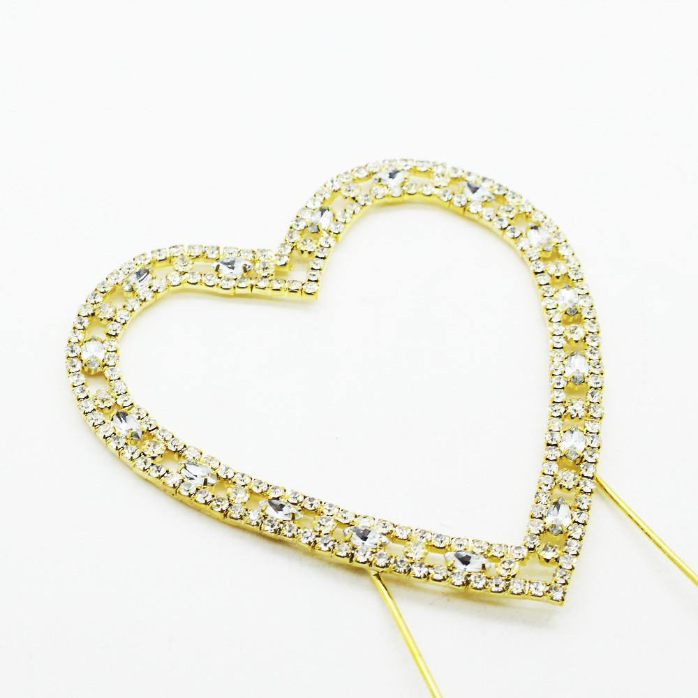 Love Heart Crystal Rhinestone Cake Topper (FAUX Diamond Gold Diamante) - CHARMERRY