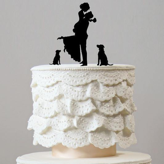 Engagement /Wedding Cake Topper (Dog Pet Puppy) [Romantic Groom Hugging &Lifting Bride w/ 2 Dogs]
