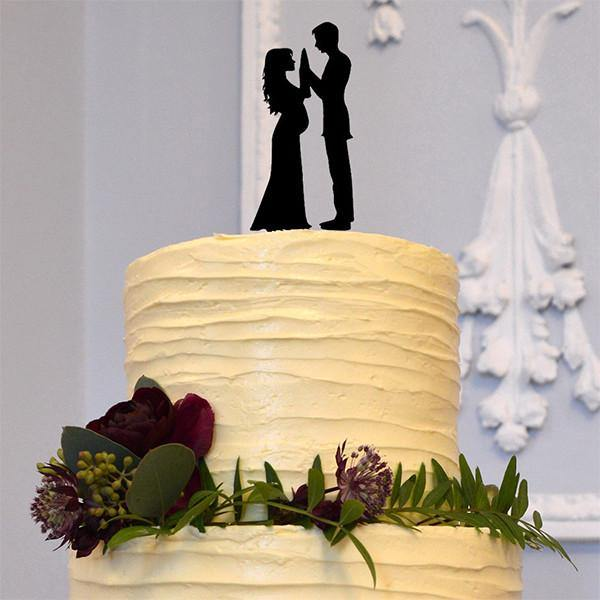 Romantic Wedding Cake Topper (Pregnant Bride, Groom &Baby /Family Love)