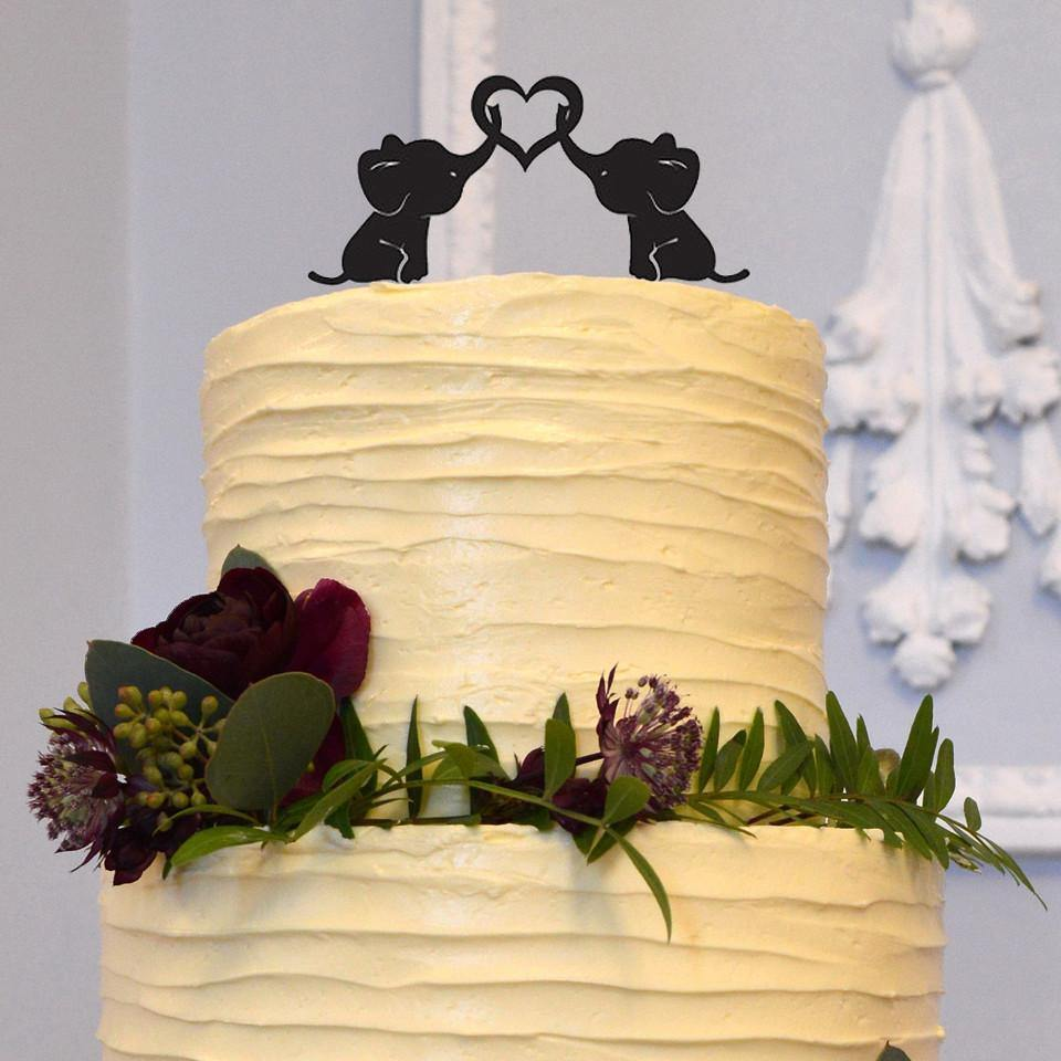 Elephant Wedding Cake Topper (Cute &Lovely Animals /Sweet Love Heart)