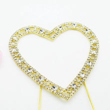 Load image into Gallery viewer, Love Heart Crystal Rhinestone Cake Topper (FAUX Diamond Gold Diamante) - CHARMERRY