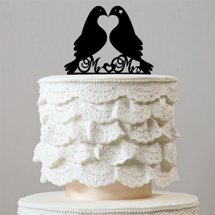 Beautiful Mr Mrs Wedding Cake Topper (Love Message Bird /Dove /Pigeon) - CHARMERRY