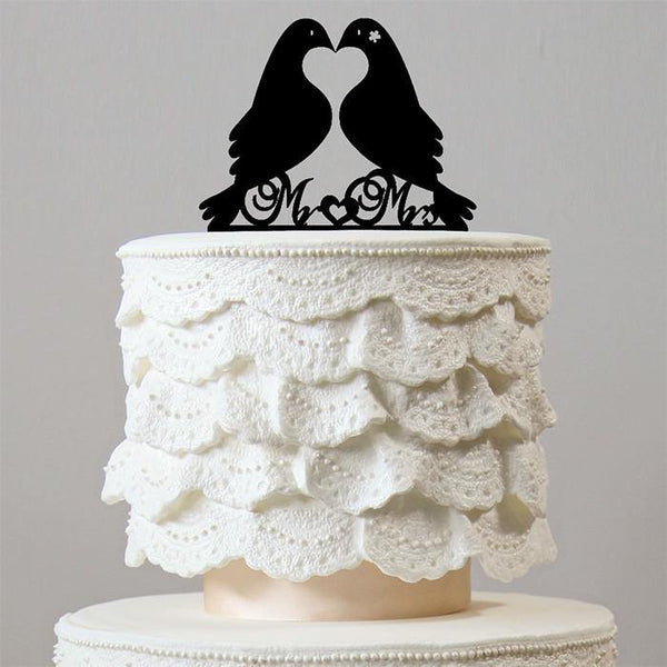 Beautiful Mr Mrs Wedding Cake Topper (Love Message Bird /Dove /Pigeon)