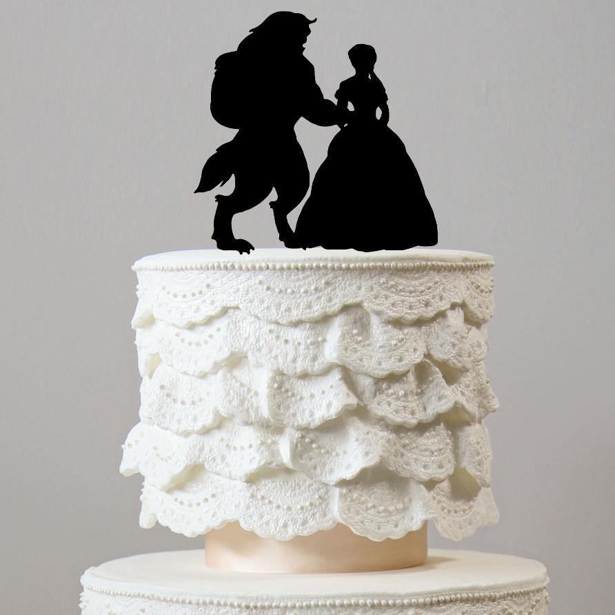Beauty And The Beast Wedding Cake Toppers (Fairytale /Princess Theme ...