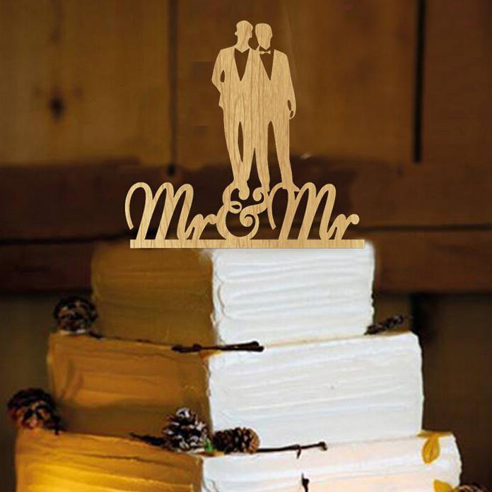 Mr & Mr Wedding Cake Topper (Gay Marriage /Homosexual /Same-Sex Love) [Wood]