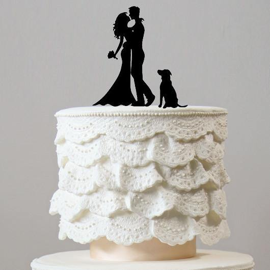Cake Topper for Wedding Anniversary Engagement (Dog Pet Puppy) [Romantic Embrace /Hug & Kiss]