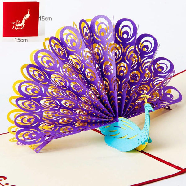 Peacock Greeting Card /3D Pop Up Invitation (Gorgeous Peafowl, Peahen)