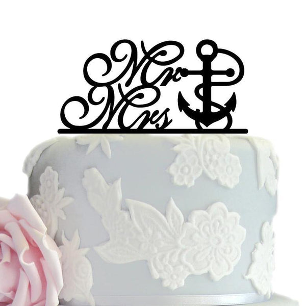 Wedding Cake Topper (Anchor /Navy Theme /Cursive Writing /Creative /Mr Mrs)
