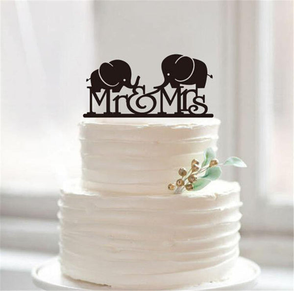 Wedding Cake Topper -Lovely Mr & Mrs Elephant (Cute /Pretty /Sweet)