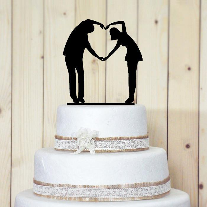 Wedding Cake Topper Heart Shape Pose Love Sign Hand Symbol