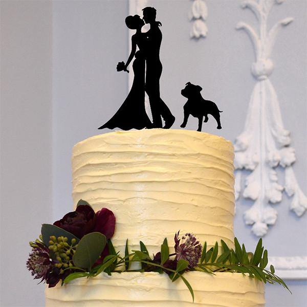 Cake Topper for Wedding Anniversary Engagement (Pit Dog Bulldog Pet Puppy) [Embrace /Hug & Kiss]