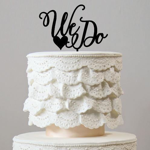 Wedding Cake Topper -Romantic, Simple &Elegant (We Do /Love Heart /Rustic Engagement)