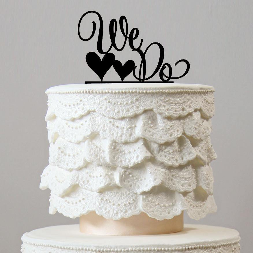 Romantic Wedding Cake Topper -Simple &Elegant (We Do /Love Heart /Rustic Engagement)