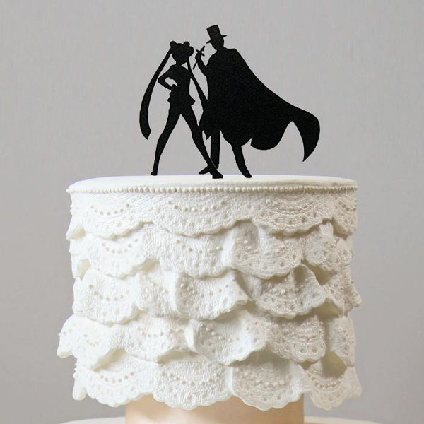 Creative Funny Cake Topper (Sailor Moon & Tuxedo Mask /Cartoon Comics)
