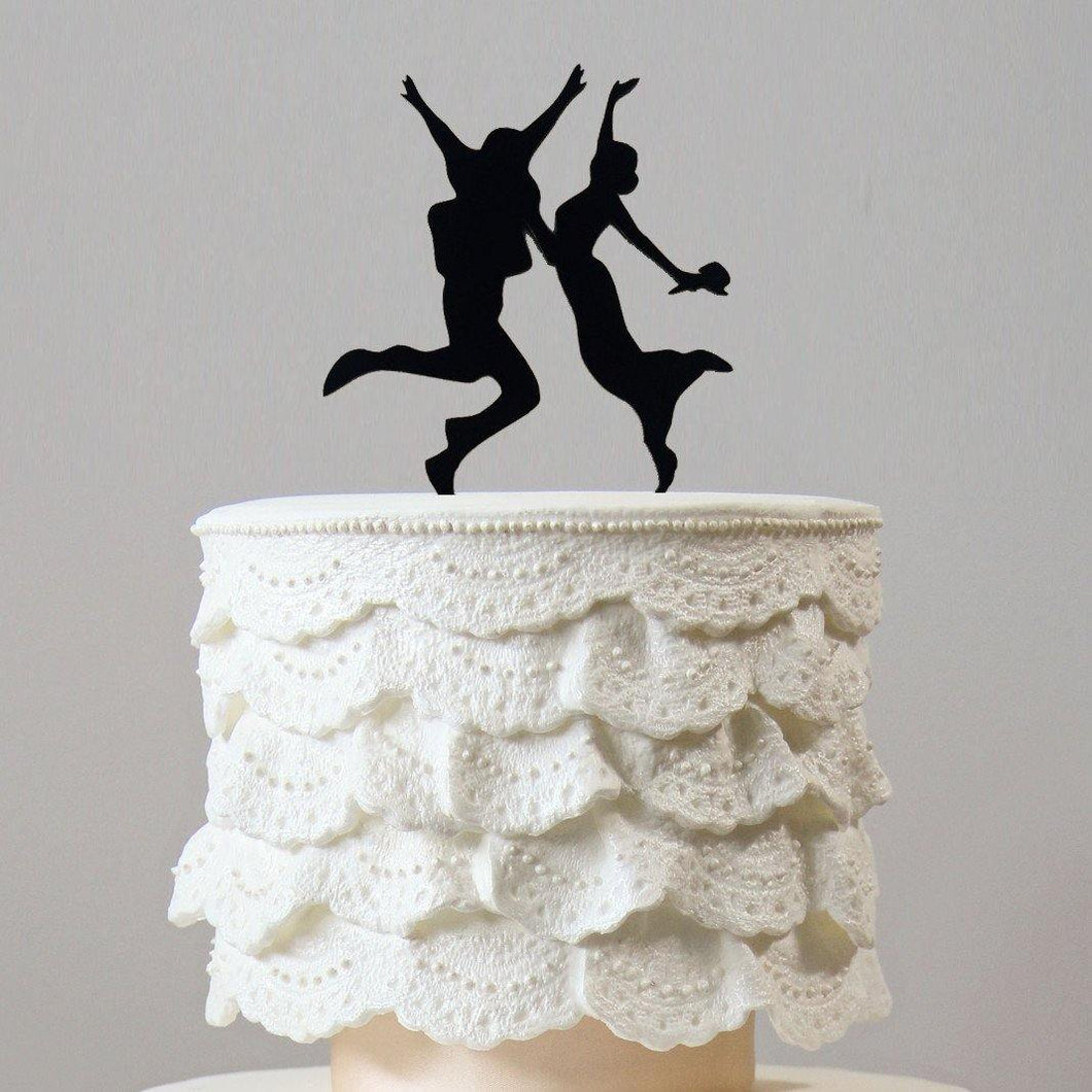 Engagement Wedding Cake Topper (Happy Couple /Jumping Bride & Groom) - CHARMERRY