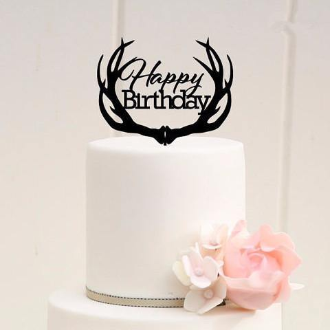 Happy Birthday Cake Decoration /Cake Topper for Party Cake & Bouquet - CHARMERRY