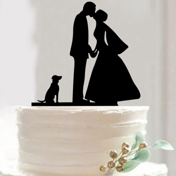 Romantic Cake Topper (Bride Kiss Groom /Holding Hands /Dog Puppy)
