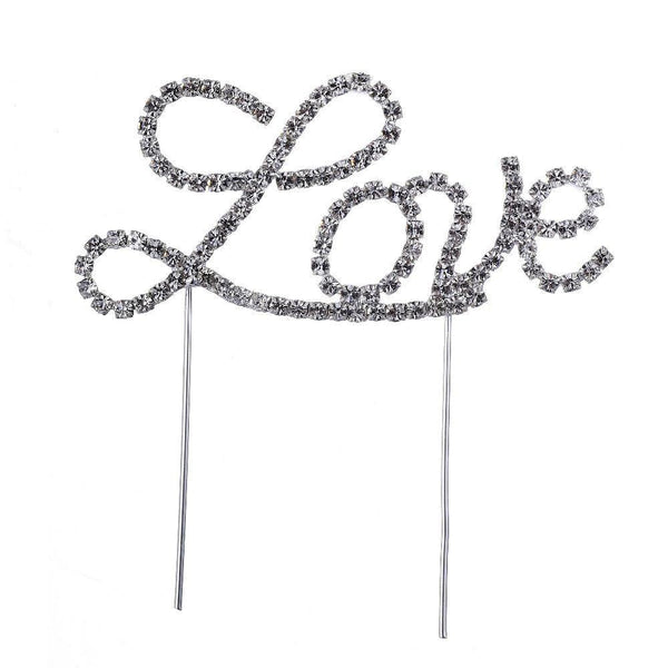 Love Crystal Rhinestone Cake Topper (FAUX Diamond /Silver Diamante)