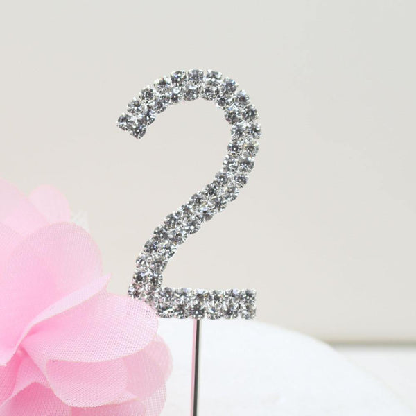 Crystal Rhinestone Number /FAUX Diamond Cake Topper Accessory (Two 2)