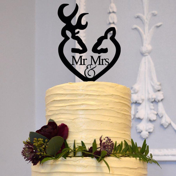 cake topper wedding deer rustic vintage outdoor country boho bohemian stag buck doe moose hunt is over engagement charmerry a01