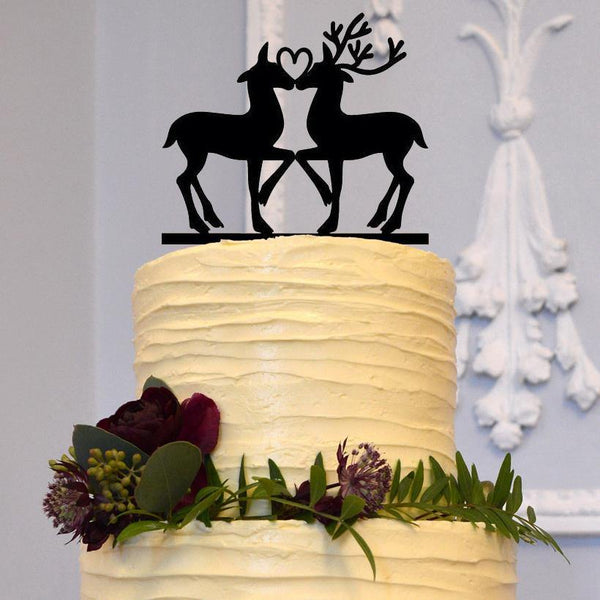 cake topper wedding deer rustic vintage outdoor country boho bohemian stag buck doe moose hunt is over engagement charmerry a02