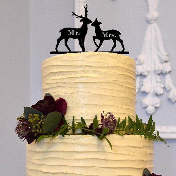 cake topper wedding deer rustic vintage outdoor country boho bohemian stag buck doe moose hunt is over engagement charmerry a03