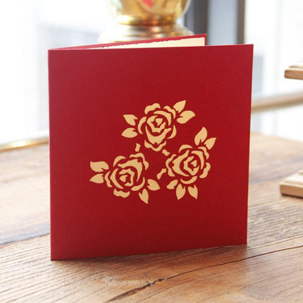 Bouquet Flower 3D Pop Up Greeting Card & Invitation (Papercraft Gift)