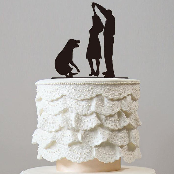 Cake Topper for Wedding Anniversary Engagement (Dog Pet Puppy)(Wedding First Dance /Romantic Waltz)