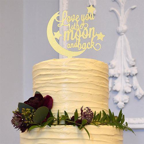 Romantic Anniversary /Engagement /Rustic Wedding Cake Topper (Love you to the moon and back /Wood)