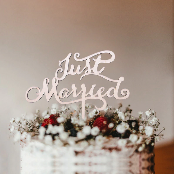 Wedding Cake Topper (Rustic Theme /Beautiful Wood /Just Married /Cursive)