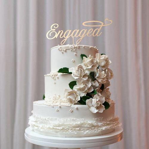 Engagement Cake Topper /Engaged Cake Decoration (Rustic Wedding /Wooden)