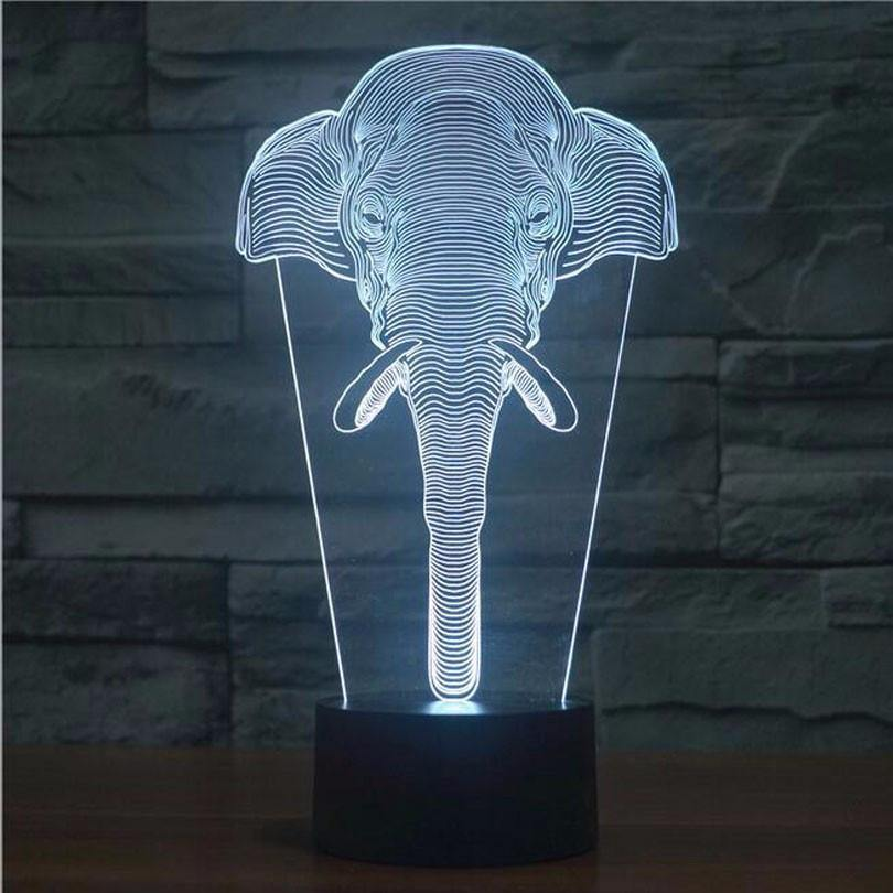 Elephant Night Light LED 3D Lamp Home Decor Design Decoration Wild Africa CHARMERRY
