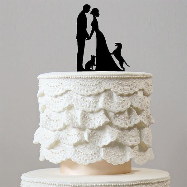 Engagement /Wedding Cake Topper 1 Dog &1 Cat (Happy Family Pets /Puppy)