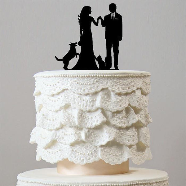 Family Wedding Cake Toppers (Dog Cat Pet Puppy /Engagement Decoration)