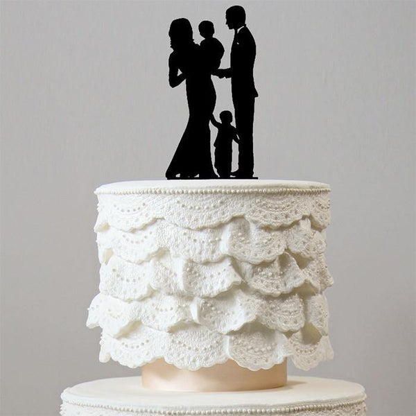 Family Wedding Cake Toppers (Groom /Pregnant Bride /1 Baby /1 Son /Boy)