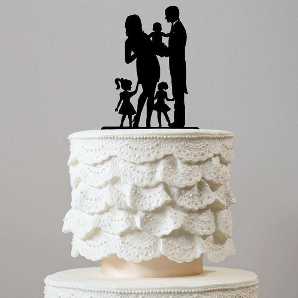 Family Wedding Cake Toppers (Groom /Pregnant Bride /Baby /2 Daughters)