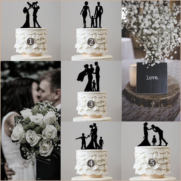 family wedding cake topper boy girl son daughter baby mother to be chic classy simple elegant keepsakes style themes decor favors decoration charmerry a0