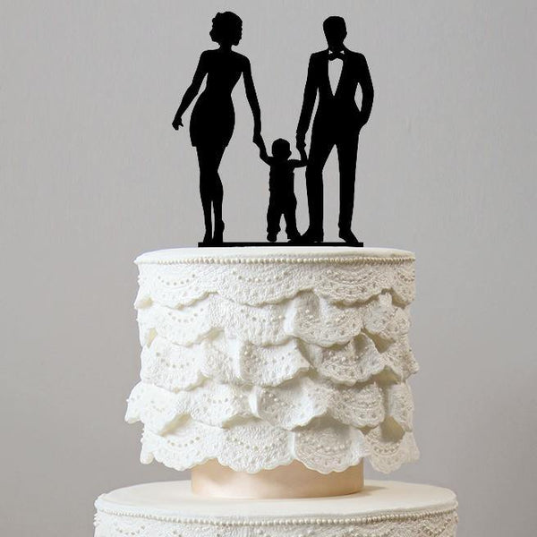 family wedding cake topper boy girl son daughter baby mother to be chic classy simple elegant keepsakes style themes decor favors decoration charmerry a2