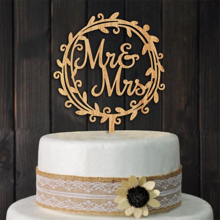Beautiful Wood Mr Mrs Rustic Wedding Cake Topper [Bridal Shower Party /Vintage /Flower Block Wreath] - CHARMERRY
