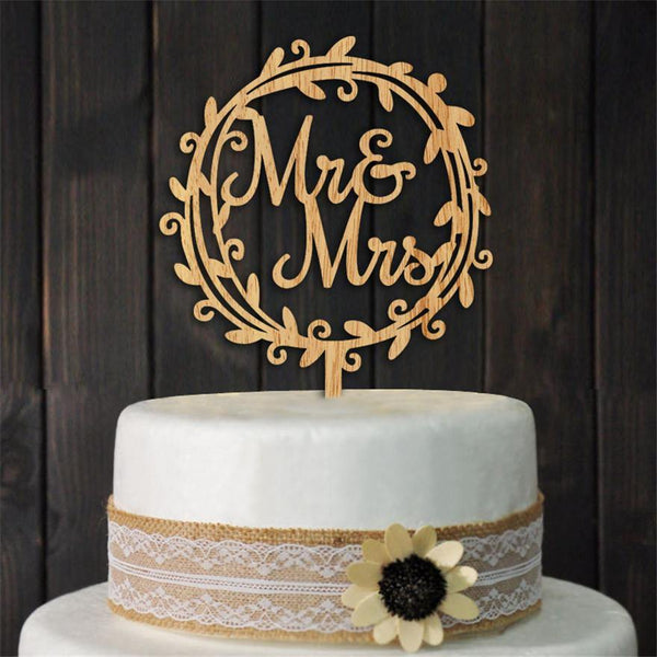 Beautiful Wood Mr Mrs Rustic Wedding Cake Topper [Bridal Shower Party /Vintage /Flower Block Wreath]