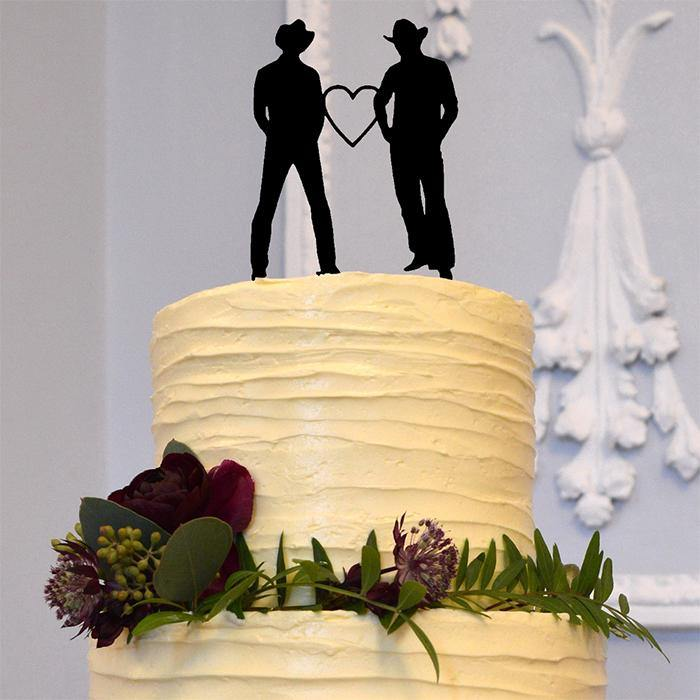 gay wedding cake toppers country western cowboy style mr mr theme homosexual same sex marriage brokeback mountain love charmerry