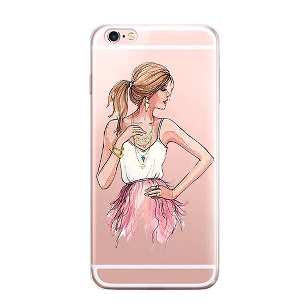 iPhone 7 Case -iPhone7 Illustration Sketch Art Protective Cover [Watercolor /Fashion /French /Comic]