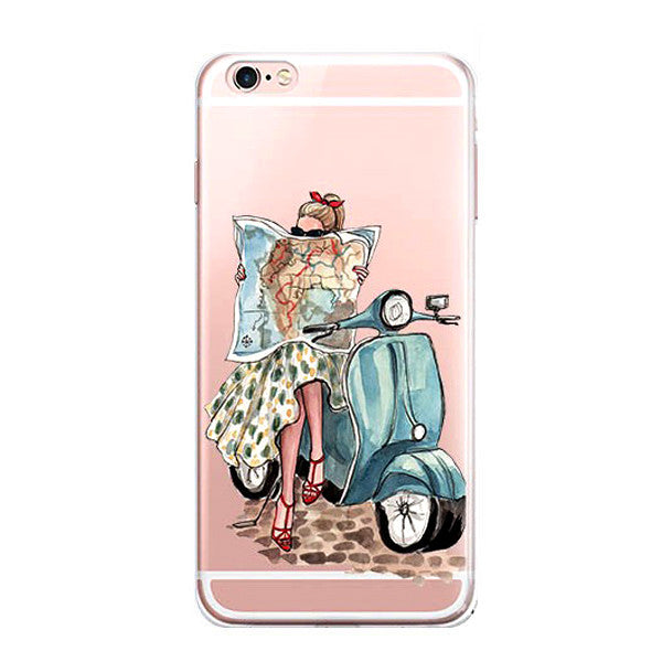 iPhone 7 Plus Case -iPhone7 Illustration Sketch Art Protective Cover [Watercolor /Fashion /French]
